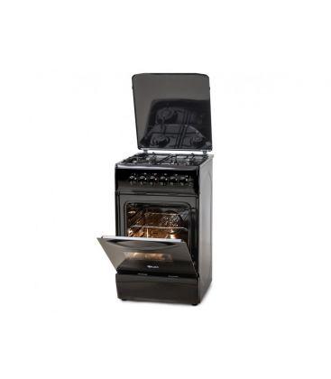 Aragaz LDK 5060 ECAI Black NG, Capac metalic, Aprindere Electrica, Cuptor Electric, Iluminare, 3 ani garantie, Negru